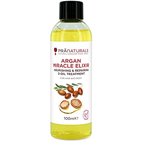 Pranaturals Argan Miracle Elixir, Triple Blend of Argan Oil, Marula Oil and Sunflower Seed Oil. Nourishing Treatment For Hair And Body, Rich In Vitamins, Moisturises Skin, Conditions Split Ends, Use To Style Hair, Stimulates Hair Growth, Treats Blemishes, Scars and