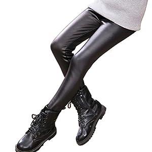 TENDYCOCO Kinder Leggings Winter Warme Hose Dicke Samt Kunstleder Leggings Dünne Hose für Mädchen 140 cm