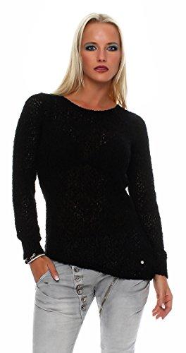 SUBLEVEL Damen Strick Pullover Rundhals Pulli langarm Netzshirt 436A (M, Schwarz)
