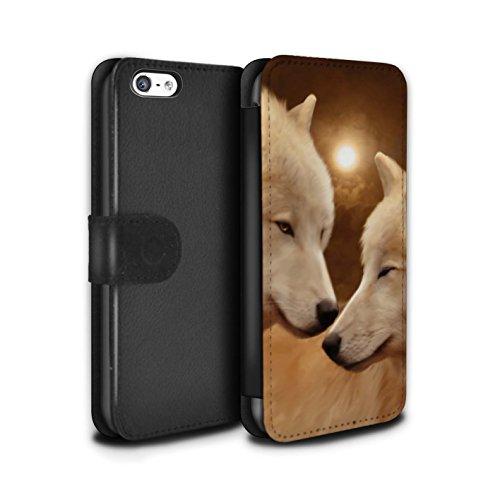 Officiel Elena Dudina Coque/Etui/Housse Cuir PU Case/Cover pour Apple iPhone 5C / Endormi/Tigré Chat Design / Les Animaux Collection Loups Blancs