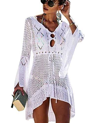 Kfnire Traje de baño de Las Mujeres Bikini Traje de baño Vestido de Playa Crochet E- Blanco