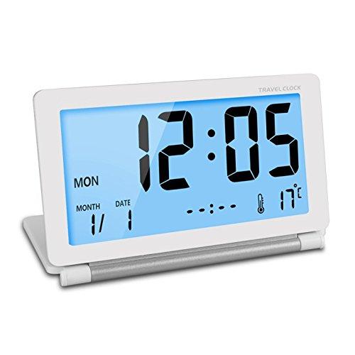 Viaje reloj ceebon plegable Mini Silent digital reloj despertador con luz nocturna inteligente temperatura calendario pantalla ...