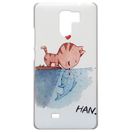 Guran® Hart Plastik Schutzhülle Case Cover für UMI Fair Smartphone Cartoon Hülle Etui-Katze liebt Fische
