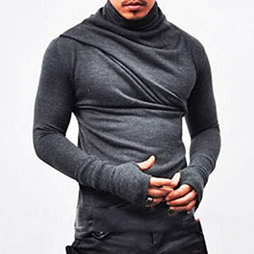 Blouse Hip Hop, Mode Personnalité Hommes Irrégulière Casual Slim Haut à Manches Longues, Automne Hiver Solide Fold froncé Chemisier Sweatshirt