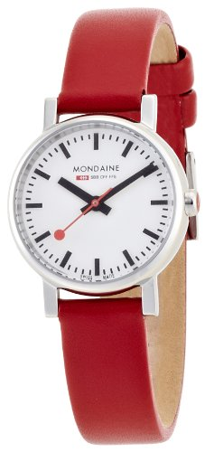 Mondaine-Womens-Quartz-Watch-with-White-Dial-Analogue-Display-and-Red-Leather-Strap-A6583030111SBC