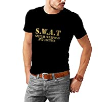 N4109 S.W.A.T., SWAT T-SHIRT ALL SIZES BLACK WHITE POLICE FANCY DRESS, T-Shirt Fruit of the loom (S, Black T-shirt/Gold Image)
