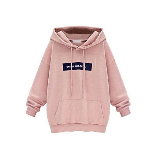 Sunnorn Mode Manteau De Style Moyen Encapuchonné Trop Grand Couverture Sweat-Shirt Femmes - X-Large - Rose