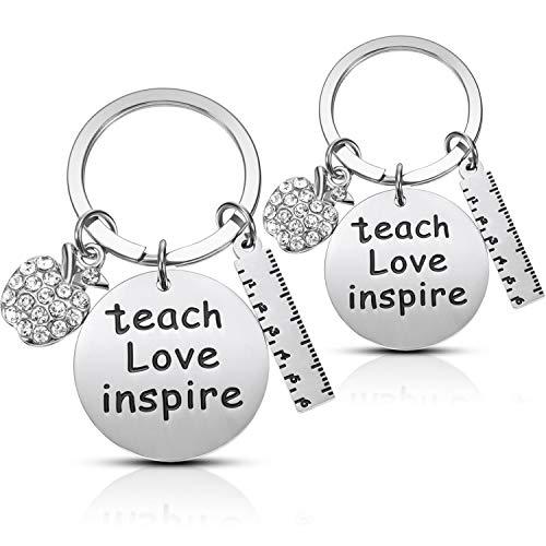 2 Packungen Lehrer Schlüsselanhänger Dank Geschenk für Lehrer mit 2 Geschenkboxen, Lehrer Anerkennungsgeschenk Schlüsselanhänger für Geburtstag Lehrer Tag Thanksgiving Graduation (C)