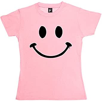 Retro Happy Funny Smiley Face Womens Ladies Cotton Short Sleeve Baby Pink T-Shirt - Size L / 14