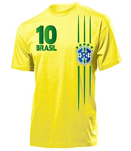 Brasilien Fanshirt Fan Shirt Tshirt Fanartikel Artikel 3368 Fussball Männer Herren T-Shirts Gelb S