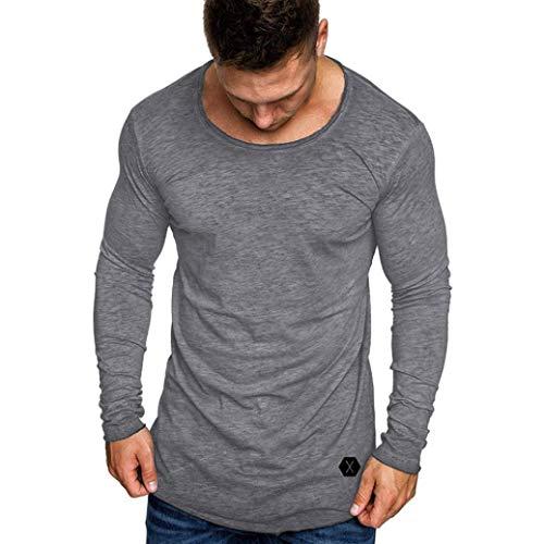 ZIYOU Muskel T Shirt Herren, Herbst Slim Fit Langarm Bluse mit Rundhals Einfarbig/Sport Jogging Fitness Pullover(3XL,Grau)