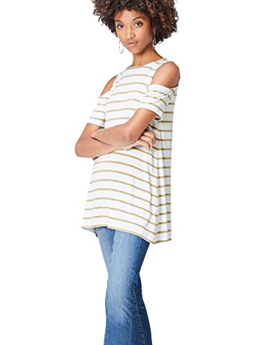 Khaki Stripe Shirt (FIND Damen T-Shirt Stripe Cold Shoulder Grün (Khaki/White), 36 (Herstellergröße: Small))
