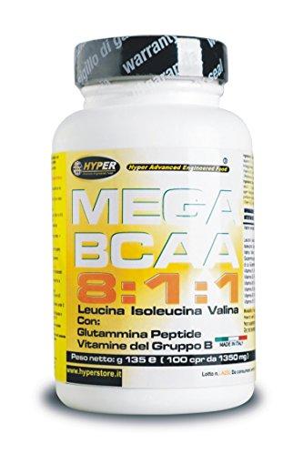 Bcaa 8 1 1 100 Compresse 105 Gr Aminoacidi Ramificati Potenziati con Glutaina Peptide e Vitamine del Gruppo B 8 Leucina 1 Isoleucina 1 Valina Aumento