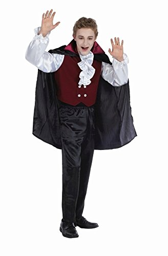 Vampir Kostüm schwarz-weiß-bordeaux für Jungen | Größe 164 | 2-teiliges Dracula Kostüm | Graf Faschingskostüm für Kinder | Fledermaus für (Unheimliche Für Kostüme Halloween Jungen)