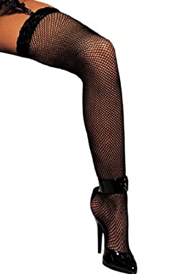 Fishnet Lace Top Thigh High Garter Stockings