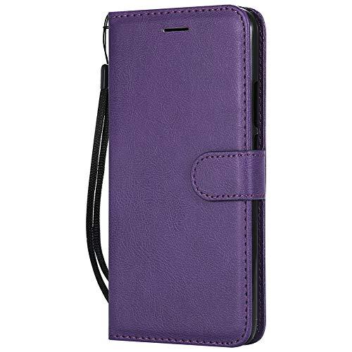 Coopay einfach Solide Farbe Schutzhülle Ledertasche Wallet Hüllen Case Tasche,Standfunktion Card Holder Trageschlaufe Hüllen,Flip Brieftasche Schale Mappen für Huawei P Smart + Lederhülle,Lila