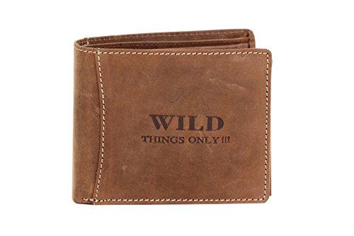 Herren Geldbörse Portemonnaie Geldbeutel Leder WILD Things Only!!! Querformat, Farbe:Braun -