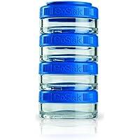 BlenderBottle GoStak 4Pak, Contenedor de suplementos alimenticios, azul,  Pak de (4x 40ml)