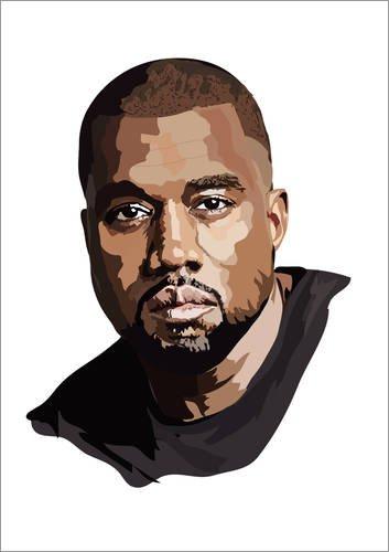 Posterlounge Leinwandbild 30 x 40 cm: Kanye West von Anna McKay - fertiges Wandbild, Bild auf...