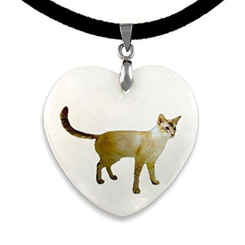 Timest - Javanese Katze - Perlmutt Anhänger mit Samt Kette CPP521 -