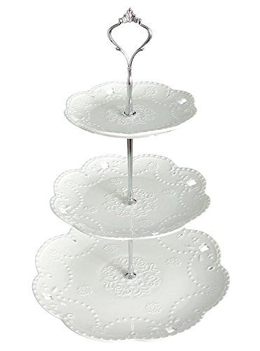 Service 3 Étages Rod Ybk Assiettes Sur Avec De Silver Tech Plat Gâteaux À Blanc Porcelaine En CBdWxQroe