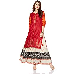 Myx Women's Festive Straight Kurta (AW17MGFST13B_Red_Small)