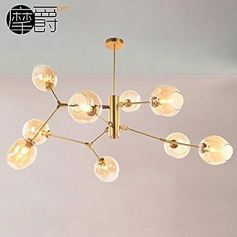 Le salon nordique après lustres modern minimalist Villa créative Restaurant bille de verre, lampes en fer or 9 ambre Lampe abat-jour + corps