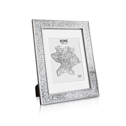 Glamour by Casa Chic Silver Photo Frame - A4 Frame Glitter Mosaic - GLASS Front - With Picture Mount for 8x6 Photo - 4cm Edge Width - Sparkling Silver