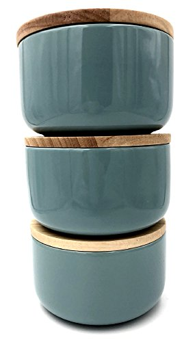 Vorratsdosen 3er Set, Deckel aus Bambus mit Gummidichtung, aromadicht, 650 ml, 3 x Jade/Flach