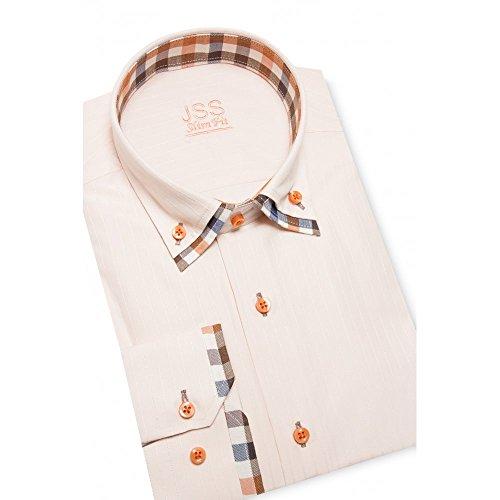 J S Designer Herren Hemd Doppelkragen, italienisches Slim-Fit-Shirt mit Knopfleiste (verschiedenen Farben Größen) Weiß - orange check