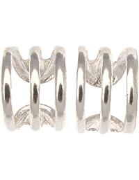 Sterling Silver Ear Cuff Triple Band Design - Pair