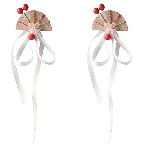 BOCHION 2 Stück Fan Shaped Haar Clip Bead Ribbon japanischen Kimono Bobby Pin Haarspange Fee Mädchen Haargummis (2 Stück weißes Band) (Japanische Fans)