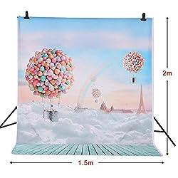 Andoer 1,5 * Photographie de 2m backdrop Ballons arc-en-ciel bleu Motif Baby Photo Studio Enfants Portrait Prise de vue