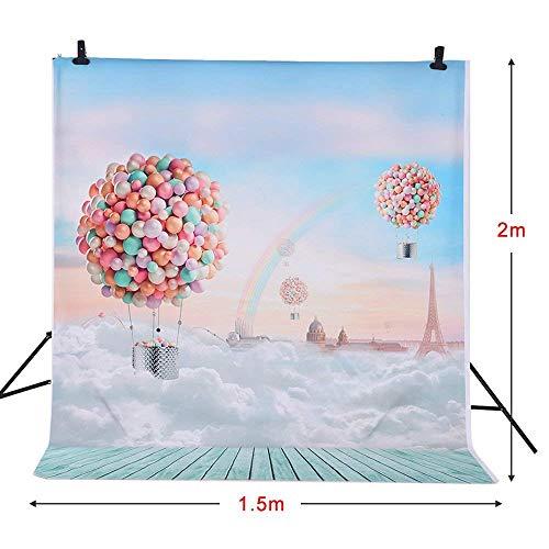 Andoer 1.5 * 2m Fotografie Hintergrund Luftballons Rainbow Blue Sky Muster für Kinder Kinder Baby-Foto-Studio-Portrait Shooting