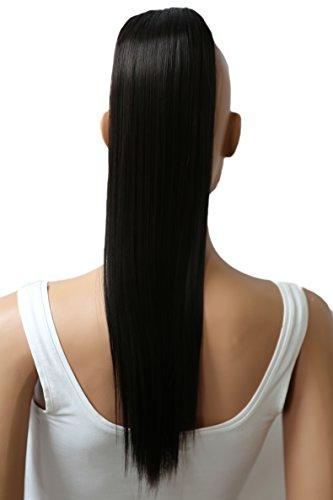 PRETTYSHOP Postiche queue de cheval d'extension de cheveux queue de cheval chaleur lisse résistant 50cm noir brun # 3 H147