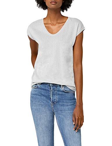 ONLY Damen onlSILVERY S/S V Neck Lurex TOP JRS NOOS T-Shirt, Grau (Silver), 36 (Herstellergröße: S)