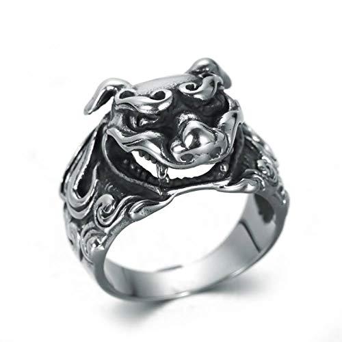 Daesar Edelstahl Ring für Männer Chinesisches Tier Pixiu Gothic Silber Ring Freundschaftsringe Große 67 - Amor Kostüm Tier