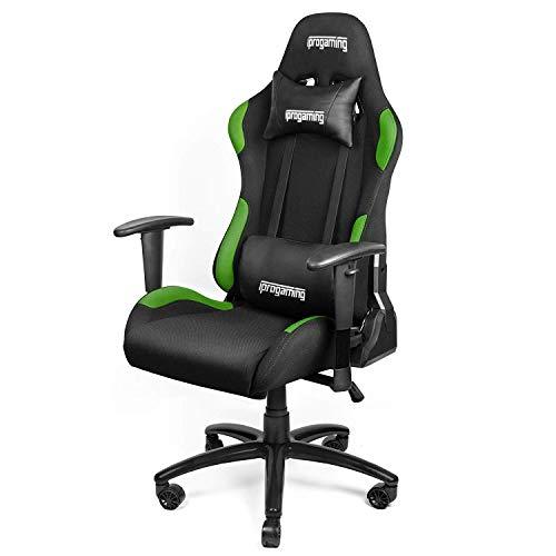 iProtect Gaming-Stuhl - Schreibtisch- und Bürostuhl für Gamer mit Stoffbezug in Schwarz-Grün