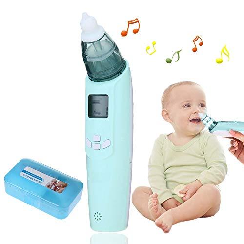 Baby Nasensauger, Luerme Electric Nasensauger Safe Hygienische Nase Reiniger mit LCD Bildschirm, Musik, bunten Licht und 3 Ebenen Saug für Neugeborene und Kleinkinder (Blau)