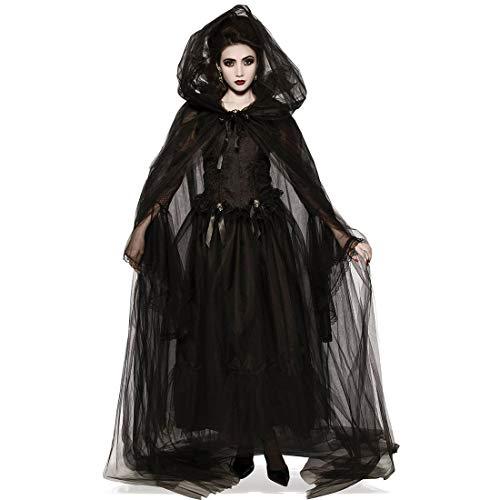 HOOLAZA Frauen Vampir Cosplay Kostüm Mit Kapuze Mantel Spitze Gaze Langes Kleid Schwarze Hexe Geist Tod - Kostüm Mit Langen Schwarzen Kleid