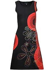 Mesdames robe sans manches avec la conception de la page colorée et de conception de fleur de broderie