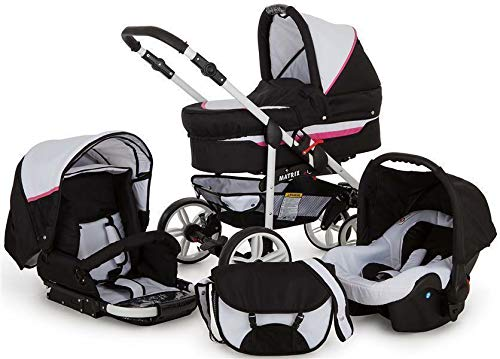 SaintBaby Stroller Pram Pushchair 2in1 3in1 Set All in one Baby seat Buggy X-Move GO White & Pink 3in1 with Baby seat SaintBaby 3in1 or 2in1 Selectable. At 3in1 you will also receive the car seat (baby seat). Of course you get the baby tub (classic pram) as well as the buggy attachment (sports seat) no matter if 2in1 or 3in1. The car naturally complies with the EU safety standard EN1888. During production and before shipment, each wagon is carefully inspected so that you can be sure you have one of the best wagons. Saintbaby stands for all-in-one carefree packages, so you will also receive a diaper bag in the same colour as the car as well as rain and insect protection free of charge. With all the colours of this pram you will find the pram of your dreams. 1