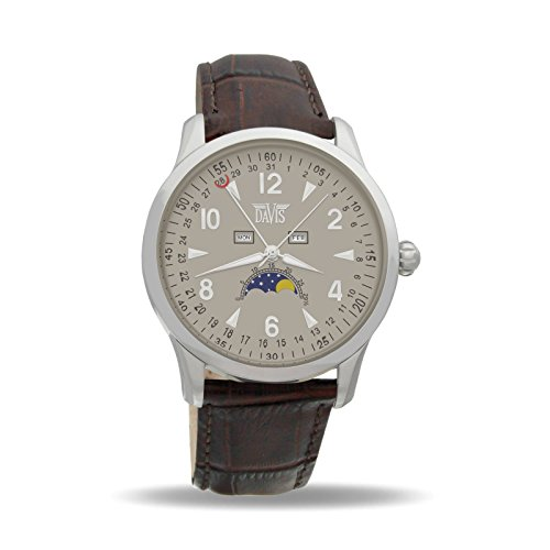 Davis 1502 - Mens Moon Phase Watch Triple Date Grey Dial Brown leather Strap