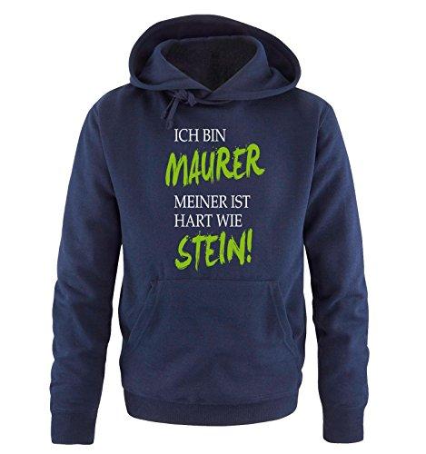 (Comedy-Shirts Maurer - Meiner ist hart Wie Stein! - Herren Hoodie - Navy/Weiss-Grün Gr. XL)