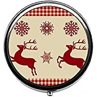 LinJxLee Merry Christmas Reindeer Round Pill Case Pill Box Tablet Vitamin Organizer Easy to Carry preisvergleich bei billige-tabletten.eu