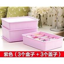 UEHV Ropa interior acolchada cubierta de plástico caja set de tres cajas de almacenaje de cajas ordenación,D