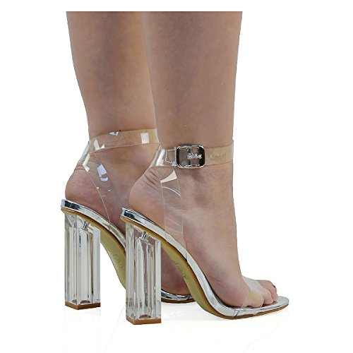ESSEX GLAM Scarpa Donna Sintetica Sandalo Tacco Trasparente Perspex Peep Toe Lacci Argento metallizzato