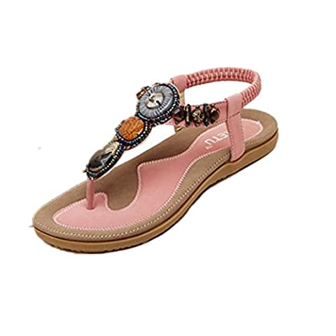 Vovotrade 2016 Date de la mode douce perles de Design Femmes clip Toe Sandals Flats Bohemian Chevrons (EU Size:42, Rose)