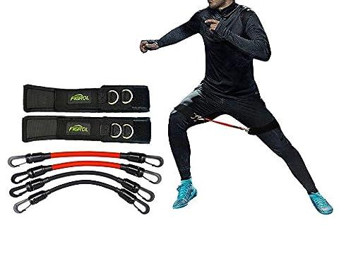 FIGROL Gymnastikbänder Fitnessbänder Set Beintrainer Sprungtrainer - für Kinetik, Geschwindigkeit, Beweglichkeit und Stärke Taekwondo Springenübung Basketball Fußball Tennis Training