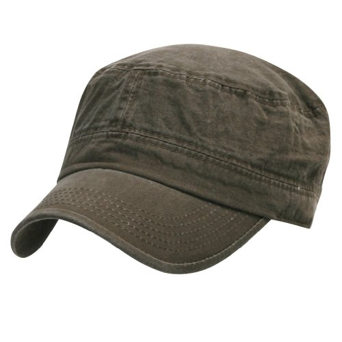 ililily Military Vintage Biker Cotton Cadet Cap Stretch Flex Back (cadet-420-4)